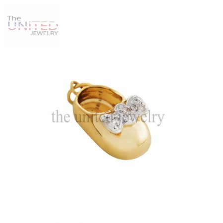 14K Gold Baby Bootie with Diamond Bow Charm Jewelry