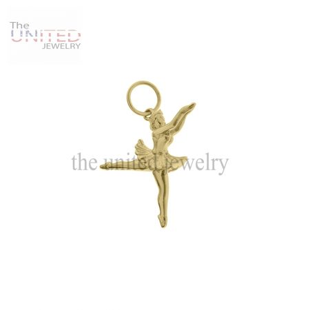 14K Gold Ballerina en Pointe Charm Jewelry