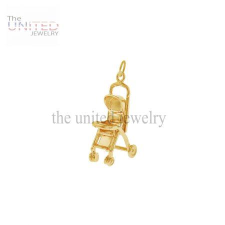 14K Gold Charm Baby Stroller Handmade Jewelry