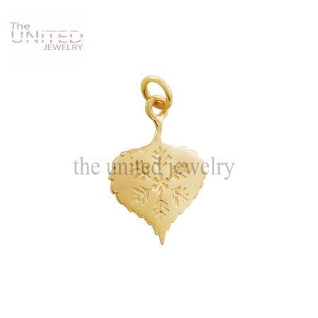 14K Gold Designer Handmade Aspen Leaf Charm Jewelry