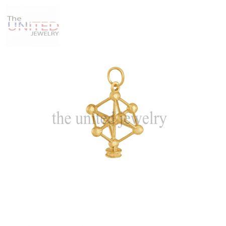 14K Gold Handmade Atom Molecule Charm Jewelry