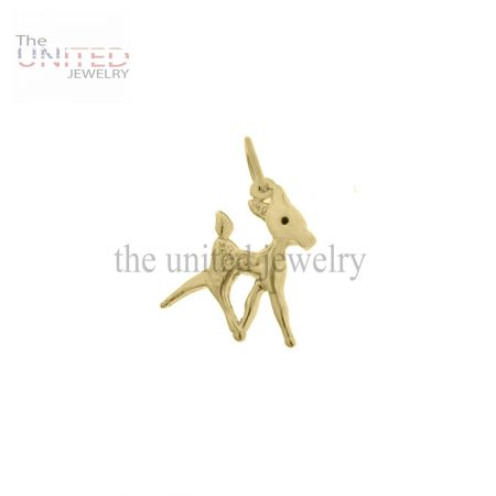 14k Gold Handmade Baby Deer Charm Jewelry