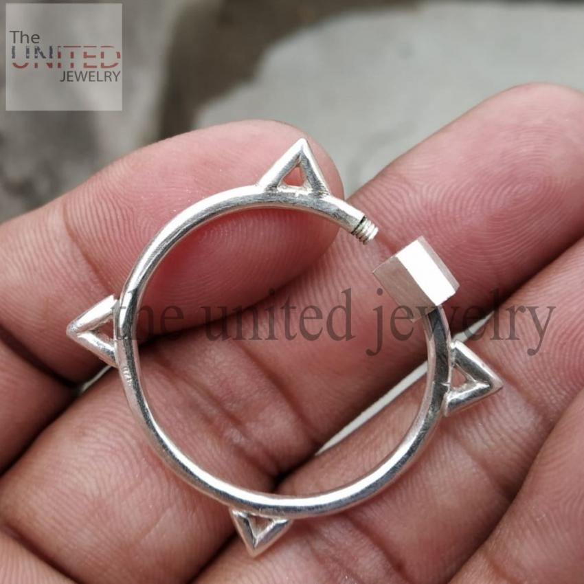 Designer Shape Carabiner Lock Clasp Sterling Silver Fine Jewelry