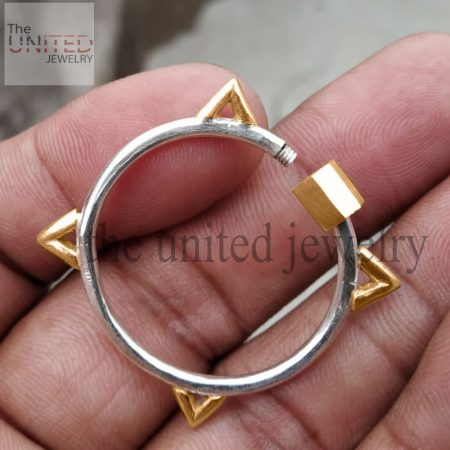 Two Tone Handmade Carabiner Lock Clasp 925 Sterling Silver Fine Jewelry