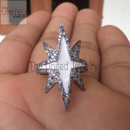 Sapphire With Diamond White Enamel Star Shape Handmade Pave Diamond 925 Sterling Silver Ring Handmade Jewelry