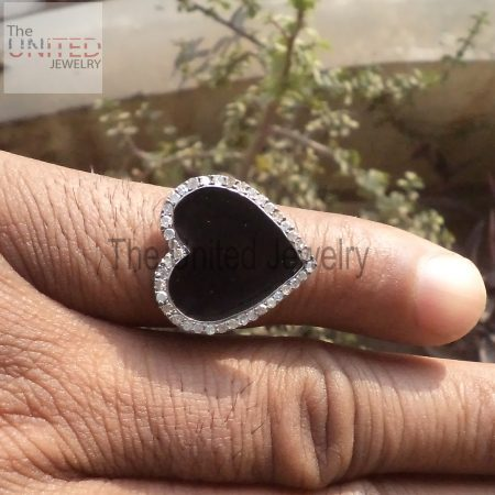 Black Color Enamel Heart 925 Sterling Silver Pave Diamond Enamel Ring Jewelry, Heart Enamel Ring