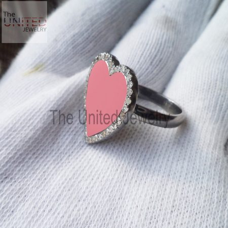 Red Color Enamel Heart 925 Sterling Silver Pave Diamond Enamel Ring Jewelry, Heart Enamel Ring