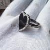 Black Color Enamel Heart 925 Sterling Silver Pave Diamond Enamel Ring Jewelry, Heart Enamel Ring