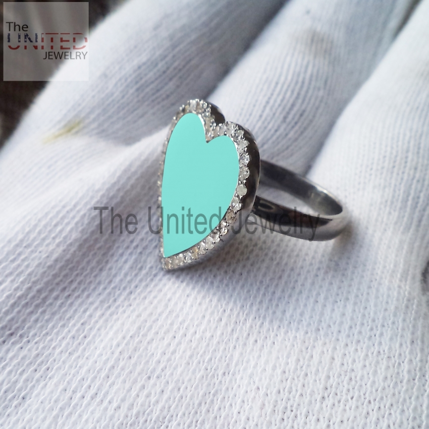 Turquoise Color Enamel Heart 925 Sterling Silver Pave Diamond Enamel Ring Jewelry, Heart Enamel Ring