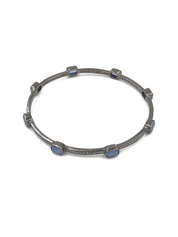 Pave Diamond Blue Chalcedony Bangle 925 Sterling Silver Jewelry Supplier