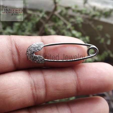 925 Sterling Silver Pave Diamond Designer Safety Pin Pendant, Silver Pendant, Pave Diamond Pendant
