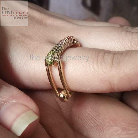 14k Solid Yellow Gold Handmade Foldable Multisapphire Designer Ring Jewelry
