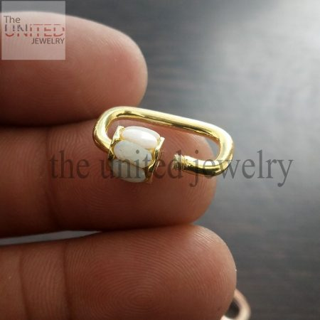 20 mm Opal Yellow Gold Plating Solid Sterling Silver Opal Mini Carabiner Lock, Handmade Carabiner Lock Jewelry