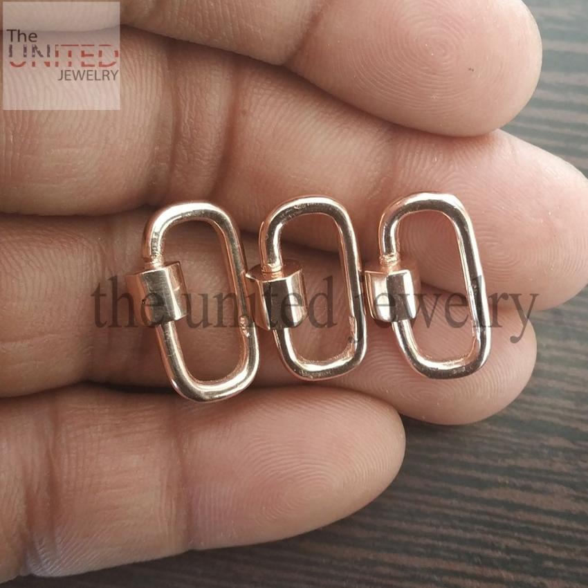 Rose Gold Plating 20mm Sterling Silver Designer Carabiner Lock Bracelet Pendant Necklace Lock Fine Jewelry