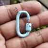 Turquoise Color Enamel Handmade Carabiner Lock Sterling Silver Jewelry Wholesale