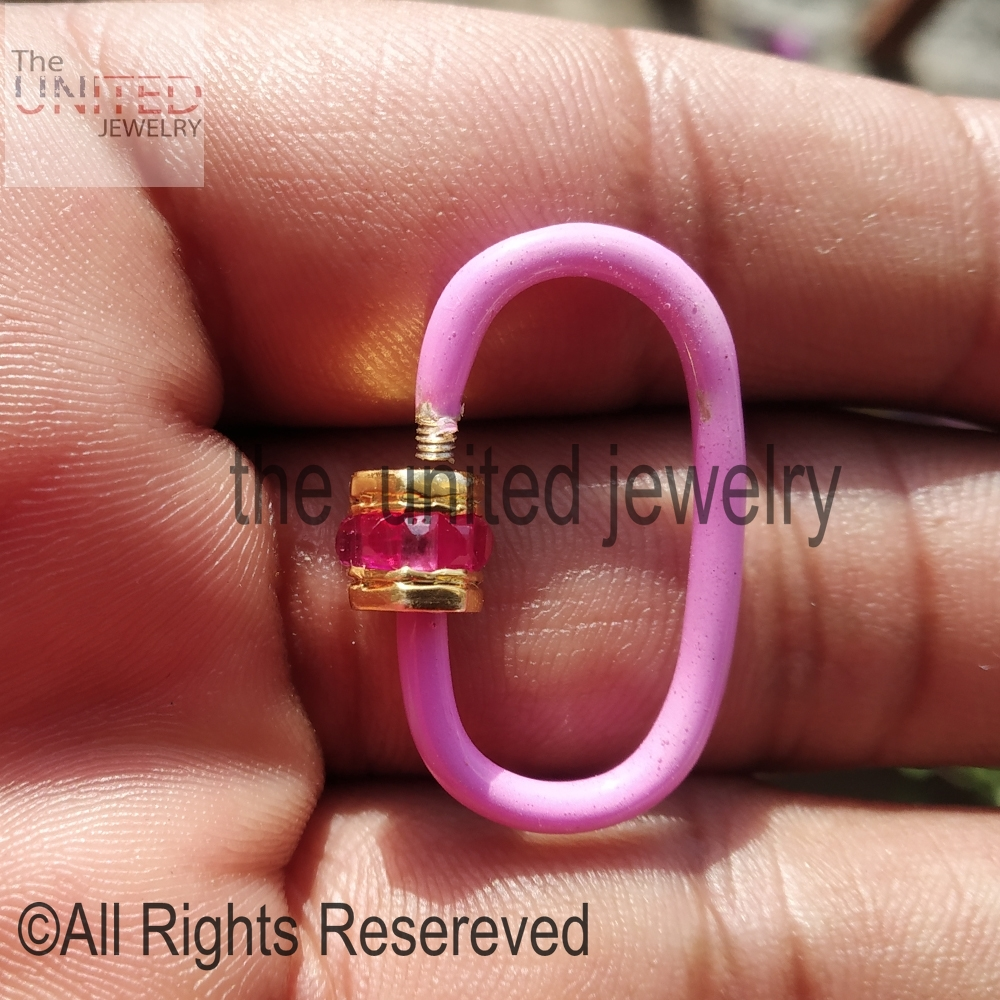 Pink Color Enamel Ruby Baguette Gemstone Handmade Carabiner Lock Sterling Silver Jewelry Wholesale