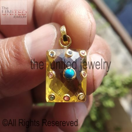 Citrine Gemstone Handmade Multicolor Stone Charms Pendant Jewelry Manufacturer India