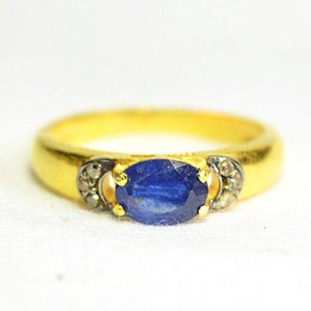 92.5 Sterling Silver Diamond Sapphire Gemstone Earring, Serling Silver Diamond Ring Jewelry