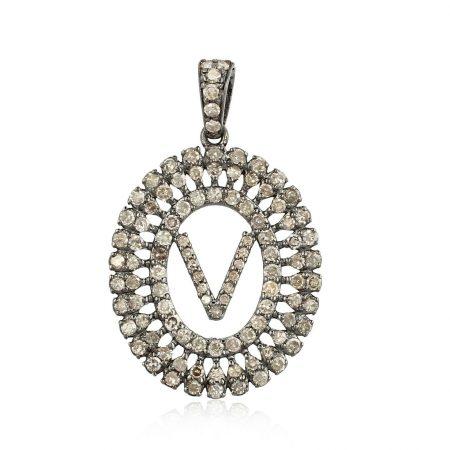 'V' Initial Letter Circle Diamond Pendant 925 Silver Handmade Fine Gift Jewelry