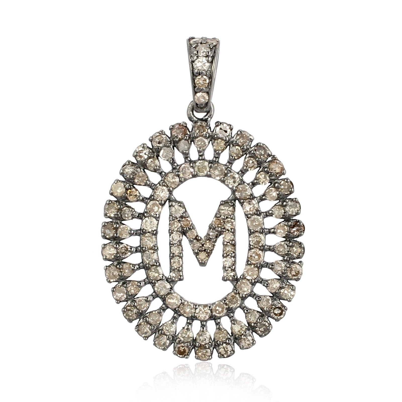 'M' Initial Letter Diamond Circle Pendant Vintage Style Handmade Silver Jewelry