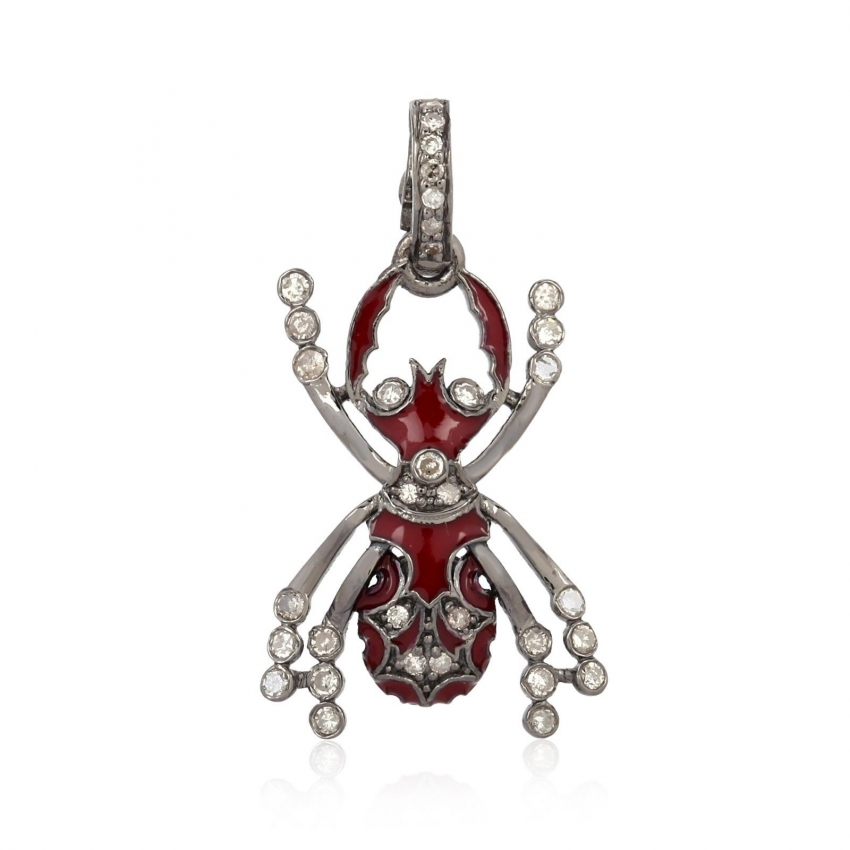 925 Sterling Silver Pendant Natural Diamond Red Enamel Insects Necklace Jewelry