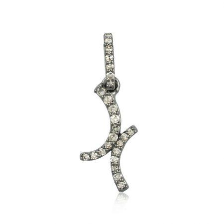 Genuine Pave Diamond Designer Pendant 925 Sterling Silver Vintage Style Jewelry