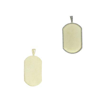 925 Sterling Silver Designer Dog Tag Pendant 0.67ct Pave Diamonds Fine Jewelry