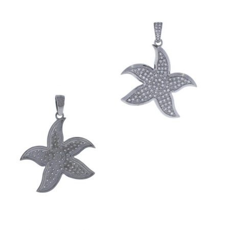 Pave Diamond Star Fish Pendant 925 Sterling Silver Handmade Jewelry New Arrivals