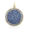 New Arrival Pave Diamond Natural Blue Sapphire Gemstone Round Disc Charm Pendant
