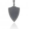 Pave Diamond Shield Design Pendant 925 Silver Vintage Design Handmade Jewelry