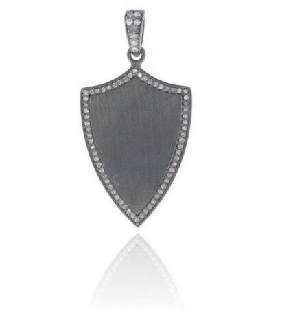 Pave Diamond Shield Design Pendant 925 Silver Vintage Design Handmade Jewelry