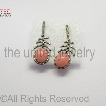 Pave Diamond - Pink - Opal - Pink Opal Oval Drop Sterling Silver 925 -Pave Diamond Earrings - Dangler Earrings
