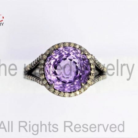 Amethyst Round - Sterling Silver 925 Pave Diamond Statement Ring - Pave Diamond Ring - Amethyst Ring