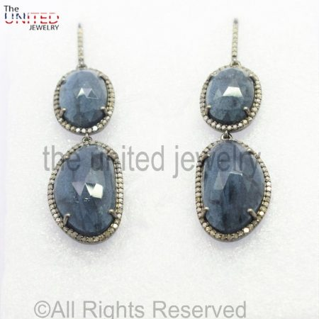 Pave Diamond - Blue - Moss Aquamarine Drop Sterling Silver 925 -Pave Diamond Earrings - Dangler Earrings