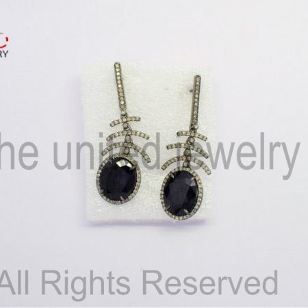 Pave Diamond - Blue - Blue Sapphire Oval Drop Sterling Silver 925 -Pave Diamond Earrings - Dangler Earrings