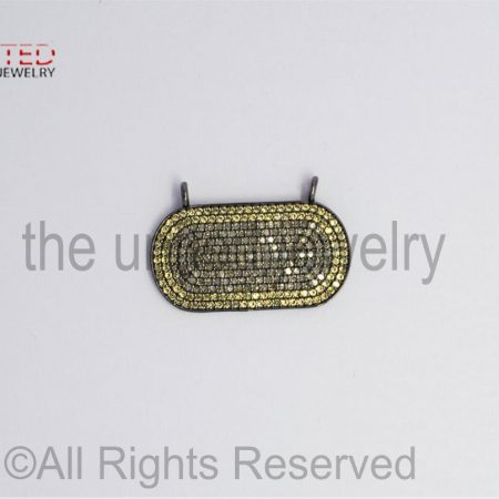 Pave Yellow Sapphire and Diamond 925 Sterling Silver Oval Bar Pendant