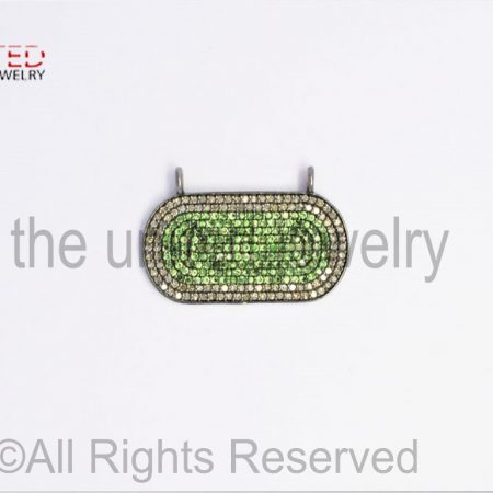 Pave Tsavorite and Diamond 925 Sterling Silver Oval Bar Pendant