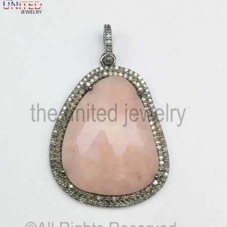925 Sterling Silver - Pink Opal - Pave Diamond Pendant - Pave Diamond Pendant - Pave Diamond Jewelry