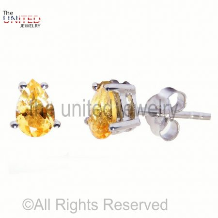 Pears Citrine Studs Earrings, Birthstone Earrings, Earrings, Gift for Her, Stud Earrings Sterling Silver 925