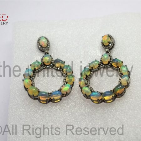 Pave Diamond - Ehtiopian Opal Drop Sterling Silver 925 - Pave Diamond Earrings - Dangler Earrings