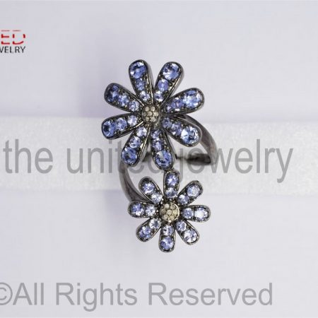 Tanzanite Flower Pave Diamond Ring - Sterling Silver 925 Pave Diamond Statement Ring - Pave Diamond Ring - Tanzanite Ring