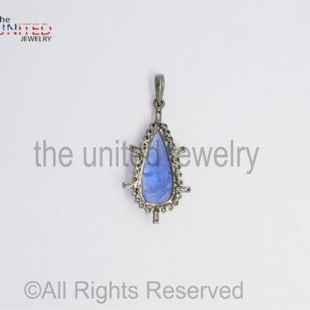 Pave Tanzanite Tapper Diamond 925 Sterling Silver Pendant - Pave Diamond Jewelry - Tanzanite Diamond Pendant