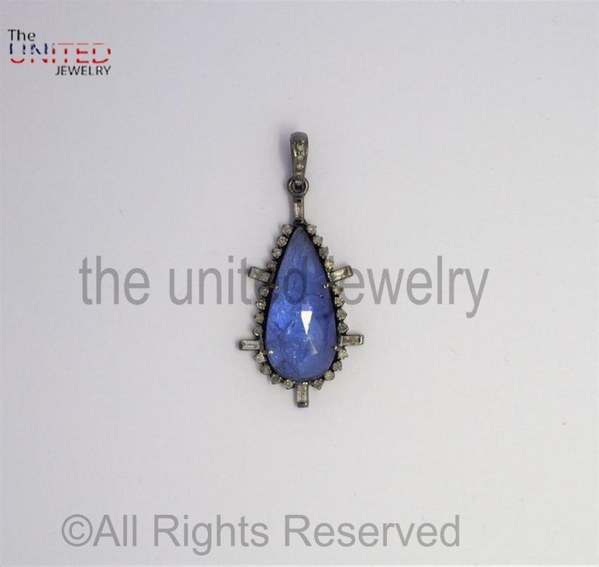 Pave Tanzanite Tapper Diamond 925 Sterling Silver Pendant - Pave Diamond Jewelry - Tanzanite Diamond Pendant