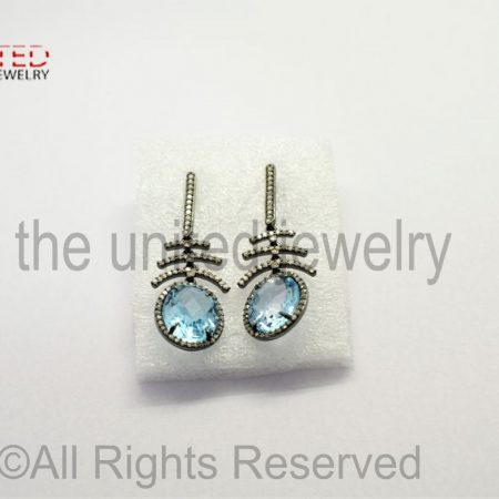Pave Diamond - Blue - Blue Topaz Oval Drop Sterling Silver 925 -Pave Diamond Earrings - Dangler Earrings