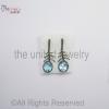 Pave Diamond - Blue - Blue Topaz Oval Drop Sterling Silver 925 -Pave Diamond Earrings - Dangler Earrings