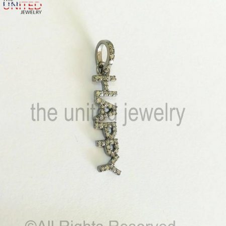 925 Sterling Silver - Pave Diamond Happy Alphabetic Charm Pendant - Pave Diamond Jewelry - Pave Diamond