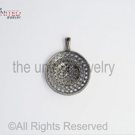 Round - Tanzanite - Tanzanite Pave Diamond Pendant - 925 Sterling Silver - Pave Diamond - Pendant