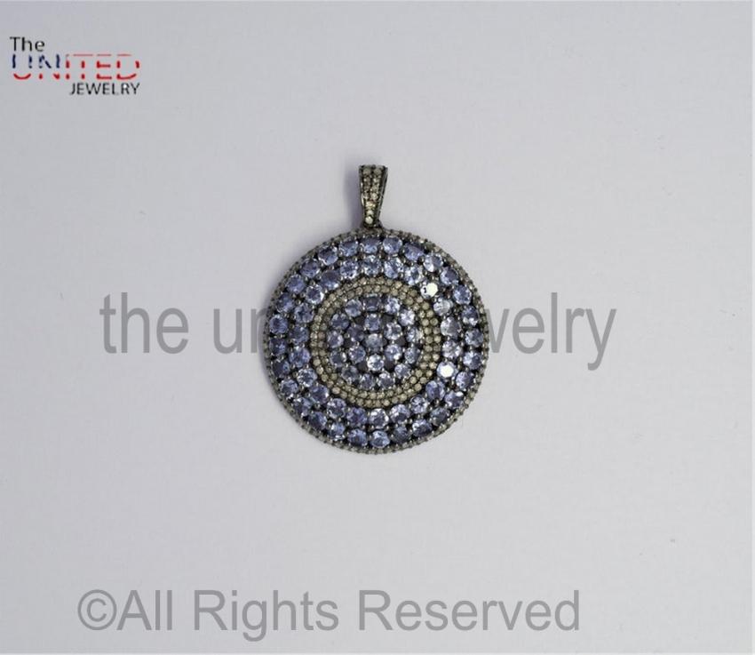 Round - Tanzanite - Tanzanite Pave Diamond Pendant - 925 Sterling Silver - Pave Diamond - Pendant