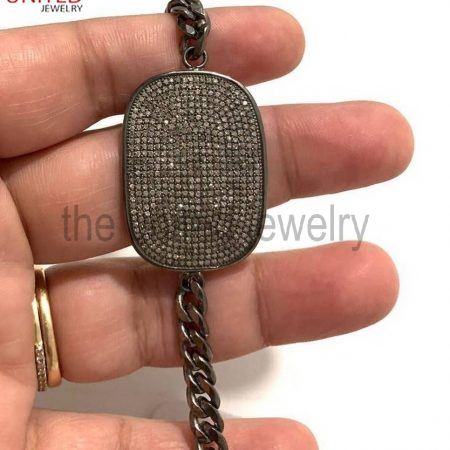 925 Sterling Silver Black Pave Diamond Cushion Bar Bracelet- Pave Diamond Jewelry - Diamond Jewellery - Diamond Bracelet with Linked Chain