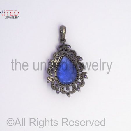 Pave Tanzanite Amethyst Diamond 925 Sterling Silver Pendant - Pave Diamond Jewelry - Tanzanite Diamond Pendant